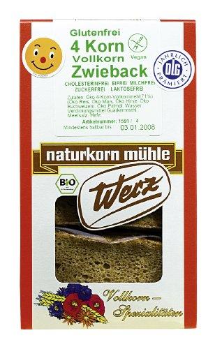 Werz 4-Korn-Vollkorn-Zwieback glutenfrei, 2er Pack (2 x 150 g Packung) - Bio