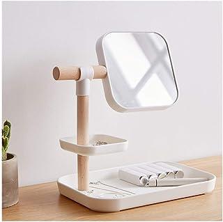 AINIYF Makeup Mirror Portable Wooden Storage Box Wooden Beauty Mirror Desktop Double Mirror Double Storage Box Mirror(27x19x30cm) (Color : White)