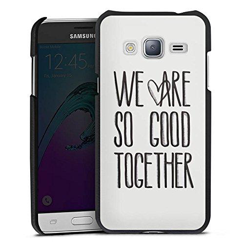 Cover kompatibel mit Samsung Galaxy J3 Duos 2016 Lederhülle schwarz Leder Hülle Leder Handyhülle Kruth Design Statement Liebe