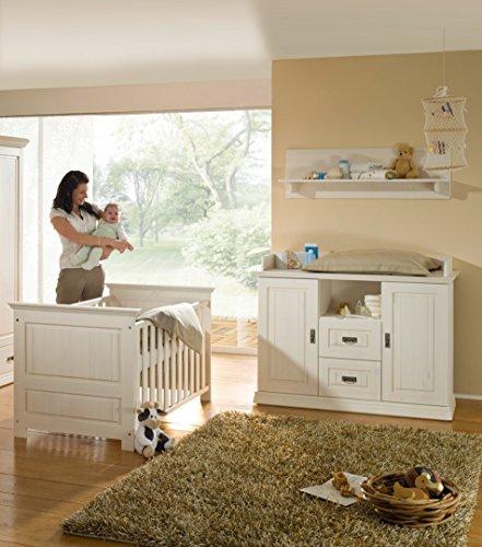 Babyzimmer 4tlg.Babybett Bettseiten Wickelkommode Wandregal Kiefer massiv weiß