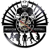 WTTA Joueur de Football américain Horloge Murale Sport vestiaire décoration Murale Design Moderne Rugby Disque Vinyle Horloge Murale