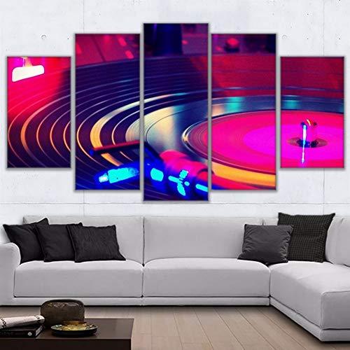 YDBDB muurkunst lijst canvas Hd Prints Schilderen 5 stuks DJ muziekinstrument platenspeler Poster Wooncultuur Dj Turn Tafel Afbeeldingen ohne gerahmt 40 x 60, 40 x 80, 40 x 100 cm.