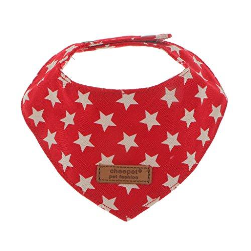 MagiDeal Vintage Hundehalstuch Dreieckstuch Hunde Halsband Bandana Katzenhalsband Tuch aus 100% Baumwolle - Rot, M