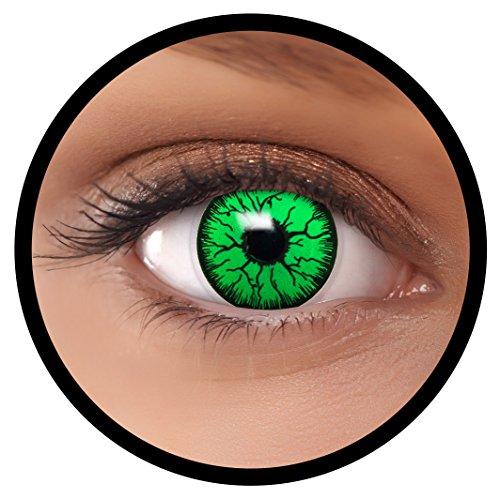 Farbige Kontaktlinsen grün Monster + Behälter, weich, ohne Stärke in als 2er Pack (1 Paar)- angenehm zu tragen und perfekt für Halloween, Karneval, Fasching oder Fastnacht Kostüm