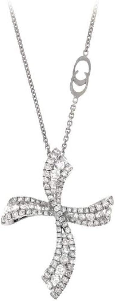Chimento,girocollo per donna, in oro bianco 18 kt (5,9gr),centrale a forma di croce con diamanti 0,83 ct 1G08073BB5450