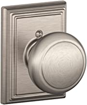 Schlage Lock Company Andover Knob with Addison Trim Non-Turning Lock, Satin Nickel (F170 AND 619 ADD)