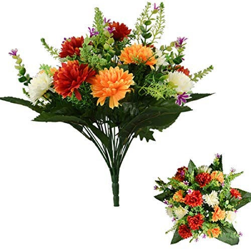 41cm Large Artificial Spikey Mum Orange Red & Cream flower bush Home Grave Wedding