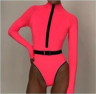 Surfanzug, sexy Neon Langarm einteiliger Badeanzug Surfen Anzug Frauen Badebekleidung Badeanzug Rash Guard Surfen Schwimme...