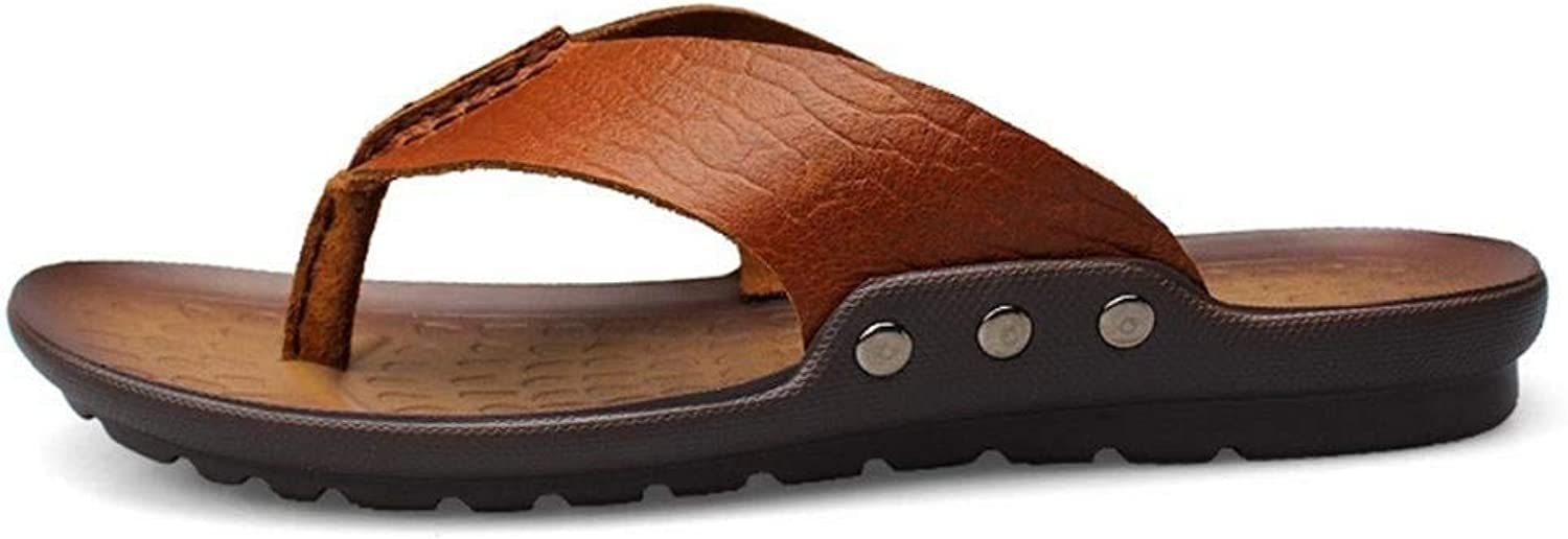 Hhgold Men's Toe Flip Flops in Summer Casual Leather Sandals (color   Brown, Size   43)