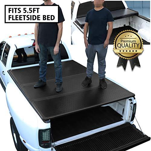 DNA Motoring TTC-HARD-001 Truck Bed Top Hard Solid Tri-Fold Tonneau Cover...