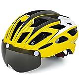 VICTGAOL Casco Bicicleta Helmet Bici Ciclismo para Adulto con Luz Trasera LED Visera Extraíble Hombres Mujeres Adultos de Bicicleta para Montar (Amarillo)