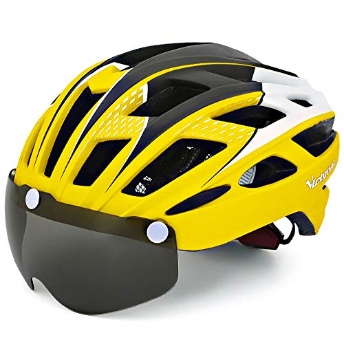 VICTGOAL Fahrradhelm Herren Damen Erwachsene Fahrrad Zyklus Helm Magnetischer Visier-Schutzbrille mit LED-Rücklicht 57-61 cm (Yellow)