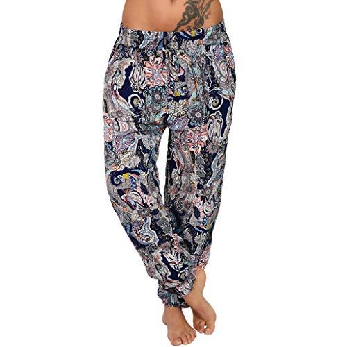 SHUANGA Damen Hippie Hose Lang Bedrucken Pumphose Haremshose Sommerhose Boho Gemustert Gesmockte Taille Freizeithose Baggy Harem Stil Yogahose mit Elastischen Bund