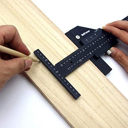 Regla multifuncional de madera con forma de T de aleación de aluminio para madera, herramientas de bricolaje, tamaño 0-128 mm