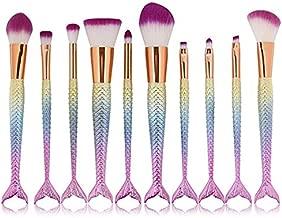 Yoseng Makeup Brush Set Mermaid Beauty Cosmetic Tools Kabuki Professional Fishtail Blush Foundation Blending Eyeliner Powder Eyeshadow Cream Concealer Eyebrow Brushes Fish Scale for girl daughter