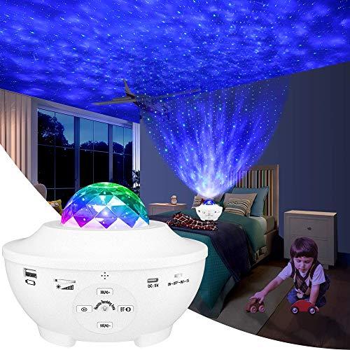 LED Sternenhimmel Projektor Lampe, Slols Sternenlicht Projektor mit Rotierende Ozeanwellen/Bluetooth Musikspieler/Fernbedienung/Timer/Starry Projekorlampe Perfekt für Kinder Zimmer,Party,Dekoration