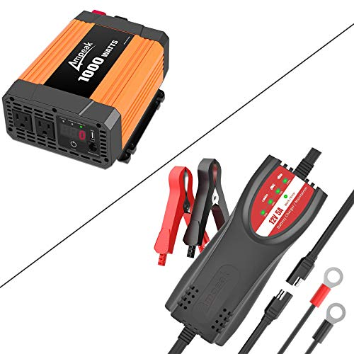 Ampeak 1000W Car Power Inverter and 12V 5A Car Battery Charger Maintainer