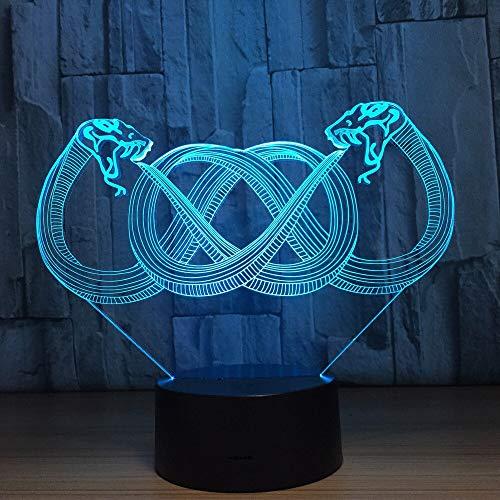 Solo 1 pieza Dos serpientes Color de la lámpara 3d Lámparas de noche LED para niños Touch Led Usb Lámpara de mesa Lampe Baby Sleeping Nightlight