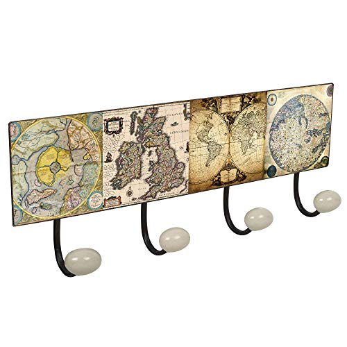 POMOLINE Percha Pared Metal diseño Clásico Vintage decoración Mapa Mundi marrón con 4 Ganchos Porcelana