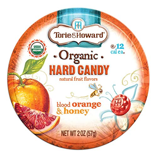 Torie and Howard Organic Hard Candy Tin Blood Orange and Honey 2 Ounce