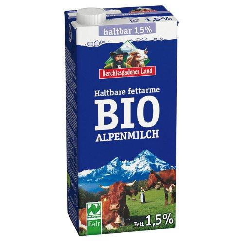 Berchtesgadener Land Bio Haltbare Bio-Alpenmilch, fettarm 1,5% Fett (1 x 1 l)