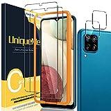 [2+2 Pack] UniqueMe Compatible con Samsung Galaxy M12 / A12 Protector de Pantalla y Protector de Lente de cámara, Vidrio Templado [9H Dureza] [Marco de Alineación] HD Film Cristal Templado