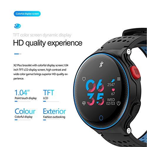 Tiao Fitness-Tracker, Bewegung Bluetooth Farbbildschirm Smart Uhr Hand Ring Blutdruck-Pulsmesser Monitor Fitness-Tracker Wristband,Blue