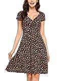 Beyove Damen Jersey Kleid Blumen Skaterkleid V-Ausschnitt Sommerkleider Muster Jerseykleid Sexy Kurz oder Langarm, Farbe: A-orange, Size M