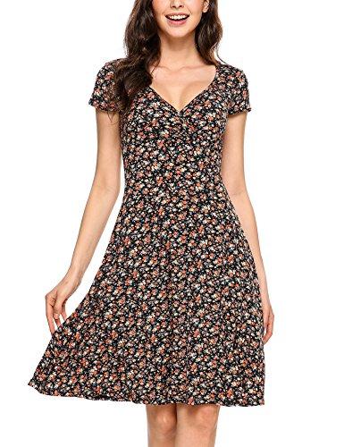 Beyove Damen Jersey Kleid Blumen Skaterkleid V-Ausschnitt Sommerkleider Muster Jerseykleid Sexy Kurz oder Langarm, Farbe: A-orange, Size S