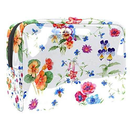 Light Blue Safflower Green Leaves Makeup Bag Cosmetic Pouch Travel Organizer Toiletry Clutch