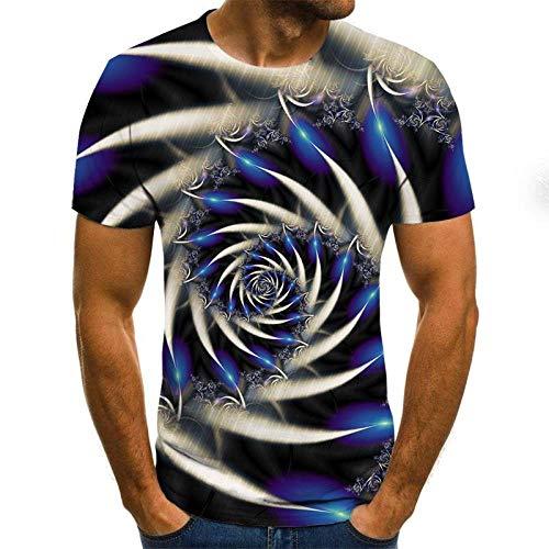 Sommermode-T-Shirts, Herren- Und Damen-Sweatshirts, Bequem Und Atmungsaktiv, Hip-Hop-Oberteile, O-Neck-Pullover, 3D-Bedruckte Kurze Ärmel, Wirbel Mit Stacheln, 2XL