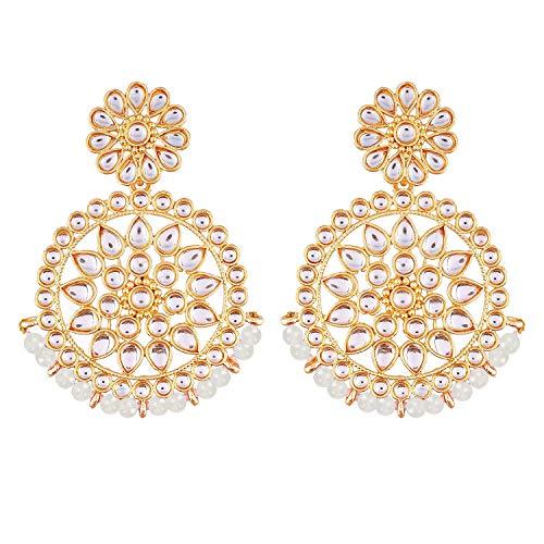 I Jewels Cuentas de Bollywood de boda india chapadas en oro de 18 k con aretes de imitación Kundan Chandbali para mujer (E2462W)