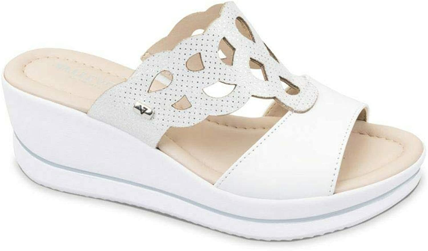 Vallegreen Sandal Wedge shoes Woman White Leather Made in