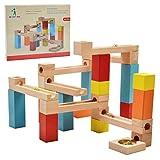 WISHTIME Circuito Pista de canicas de Madera 33 Piezas de construcción para niños para un Aprendizaje temprano, Coloreada y Natural Bloques de Madera Pista de Canicas
