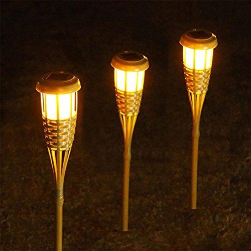 OOFWY LED Solar Intelligente Lichtsteuerung Bambus Taschenlampe Garten Lichter, 3PCS