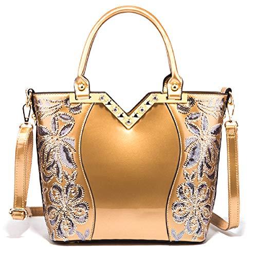 LOVE LABINI Damen Tasche Lackleder Handtasche Schulter Mode neue Stickerei elegant Gold