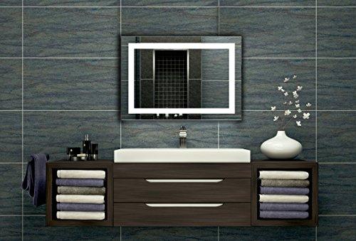 Badezimmerspiegel mit Beleuchtung LED Spiegel - 65x50 cm -Badspiegel mit Licht - Design Spiegel für Bad und Gäste WC hinterleuchtet - beleuchteter Wandspiegel Rahmenlos - Z-LED