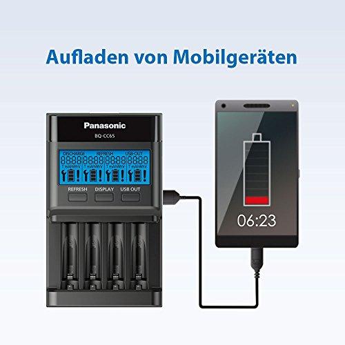 Panasonic eneloop pro BQ-CC65E Intelligentes Schnellladegerät mit LCD-Display, für 4 NI-MH Akkus AA/AAA, mit Refresh-Modus & pro, Ready-to-Use NI-MH Akku, AAA Micro, 4er Pack