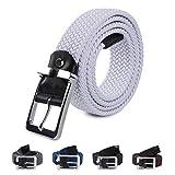 LAKIDAY Cinturon Elastico Mujer y Hombre, Comodo Cinturones Trenzado 33mm Blanco 120CM