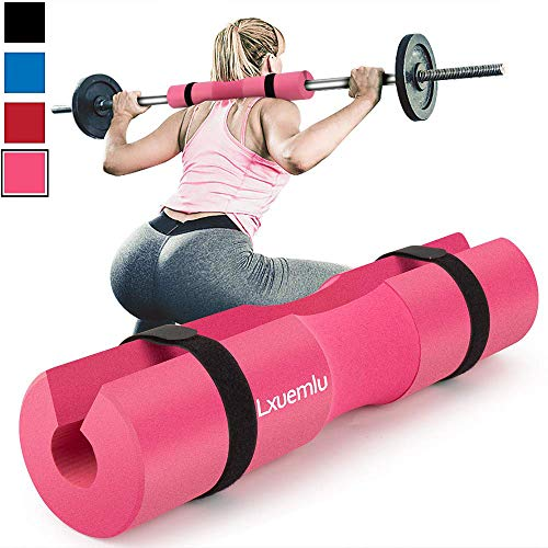 【2019 Upgraded】 Squat Pad Barbell Pad for Squats, Lunges, and Hip Thrusts - Foam Sponge Pad - Provides Relief to Neck and Shoulders While Training (Pink)
