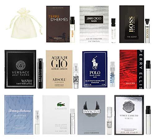11 Designer Cologne Samples Vials For Men with Organza Bag