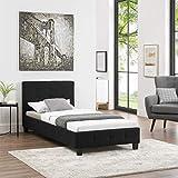 CARO-Möbel Polsterbett Ohio Bettgestell 90 x 200 cm Einzelbett Designbett inklusive Lattenrost Textilbezug in schwarz - 3