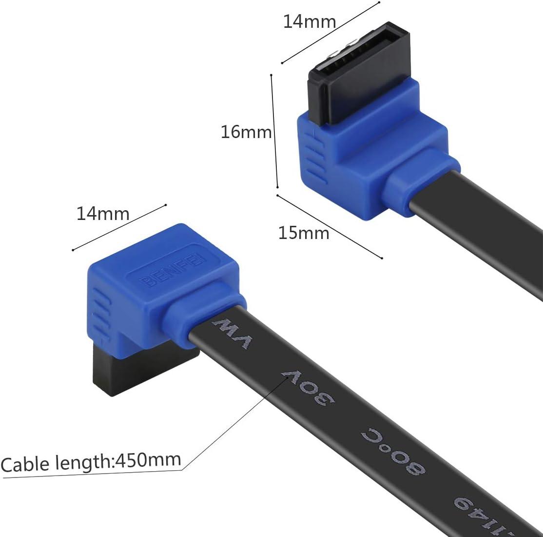 Lecteur CD BENFEI Lot de 3 c/âbles SATA III 6 Gbps Angle Droit 90 degr/és avec loquet de Verrouillage 18 Pouces pour Disque Dur SATA graveur CD Noir SSD