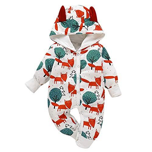 Borlai Neugeborenen-Overall aus Baumwolle, niedlicher Tierdruck, 0-18 Monate