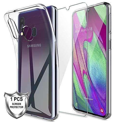 LK Custodia per Samsung Galaxy A40,Morbido Morbida Silicone Gel TPU Custodie Protettivo Case Cover con Protezione Schermo Vetro Temperato[1 Pack] per Samsung Galaxy A40 - Trasparente