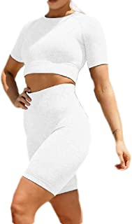FSSE Womens Biker Shorts Crop Tops Athletic Casual Yoga Short Sleeve Gym Workout Sets