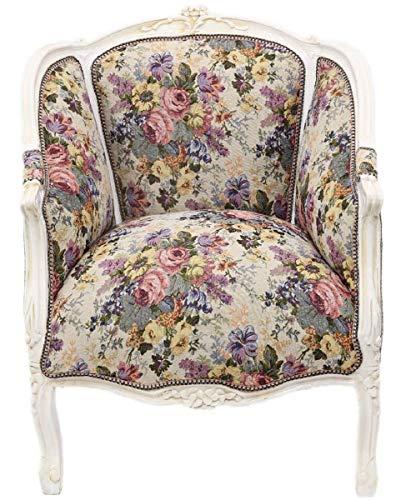 Casa Padrino sillón Lounge Baroque con Estampado Floral Multicolor/Blanco Antiguo 70 x H. 100 cm - Muebles Barrocos