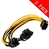 6pin PCI Express to 2 X PCIe 8 (6+2) pin & 6pin Motherboard Graphics Video Card PCI-e GPU VGA Y-splitter Hub Power Cable (2...