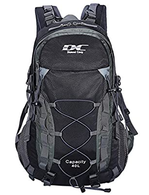 Diamond Candy Waterproof Hiking Backpack for Men and Women, Lightweight Day Pack for Travel Camping, Black, 40L