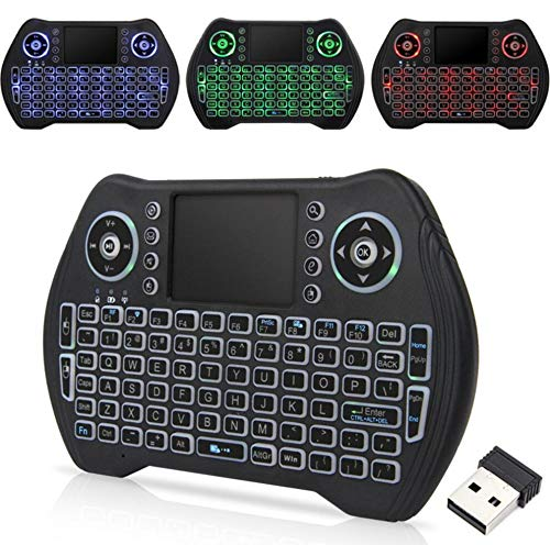 dingsheng Remote 3Color Fondo trotten caballo lámpara Mini Wireless Keyboard, i8Plus 2,4GHz Portable Wireless Keyboard con touchpad Ratón, mejor para Android Smart TV Box HTPC IPTV PC Pad Xbox